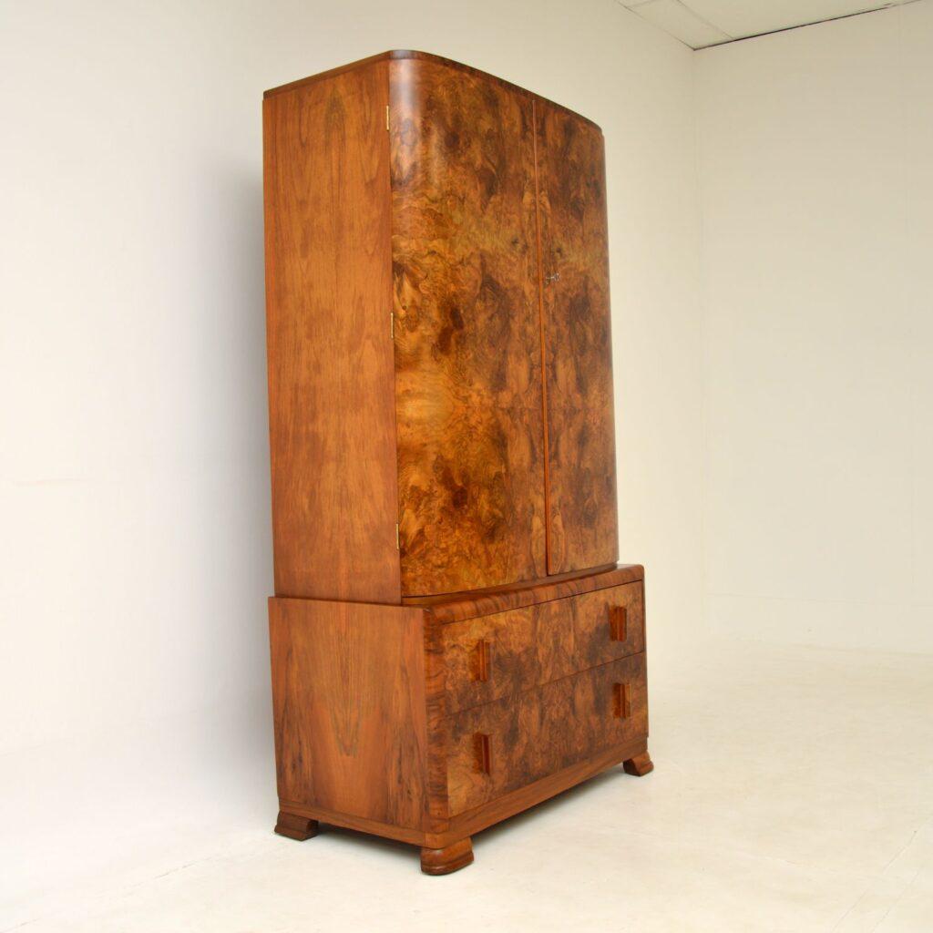 retro vintage art deco antique burr walnut wardrobe