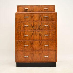 art deco figured walnut chest of drawers
