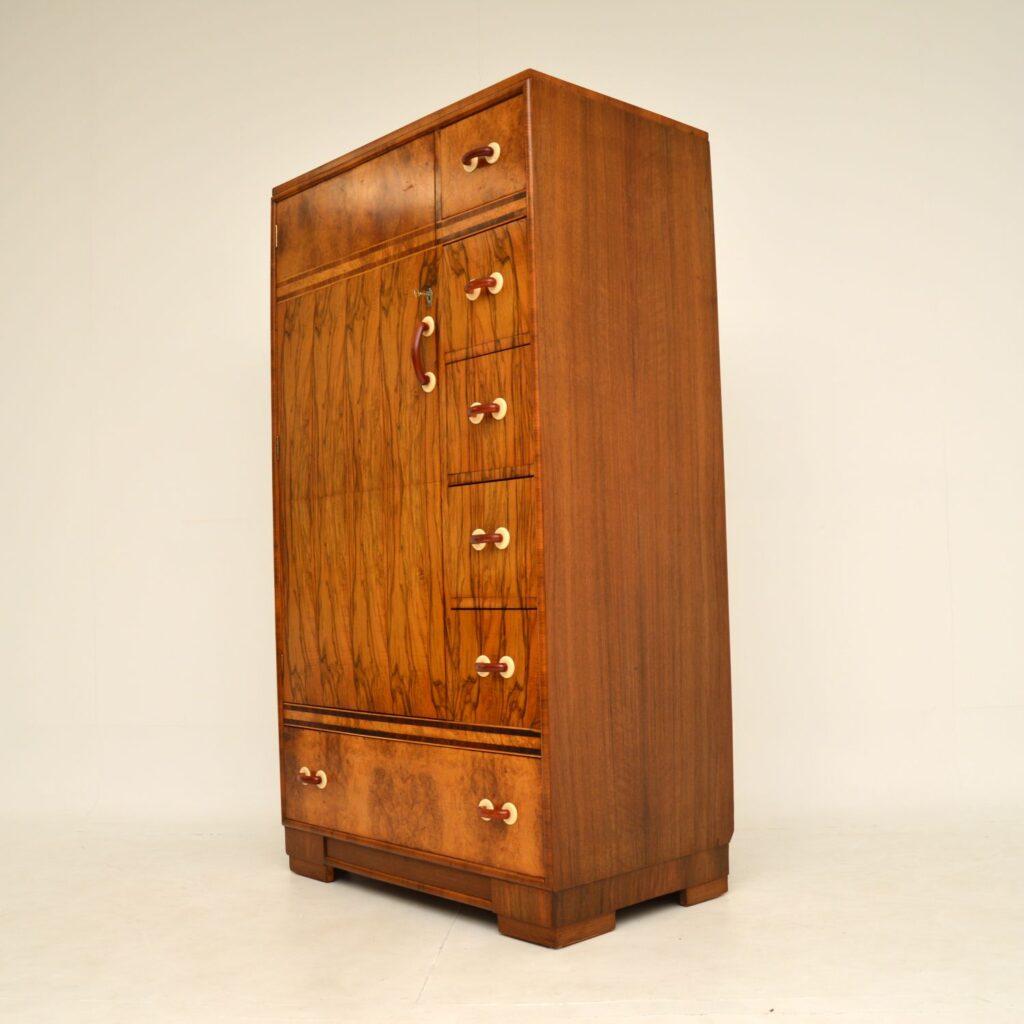 art deco figured burr walnut compactum wardrobe