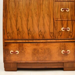 art deco figured burr walnut compactum wardrobe