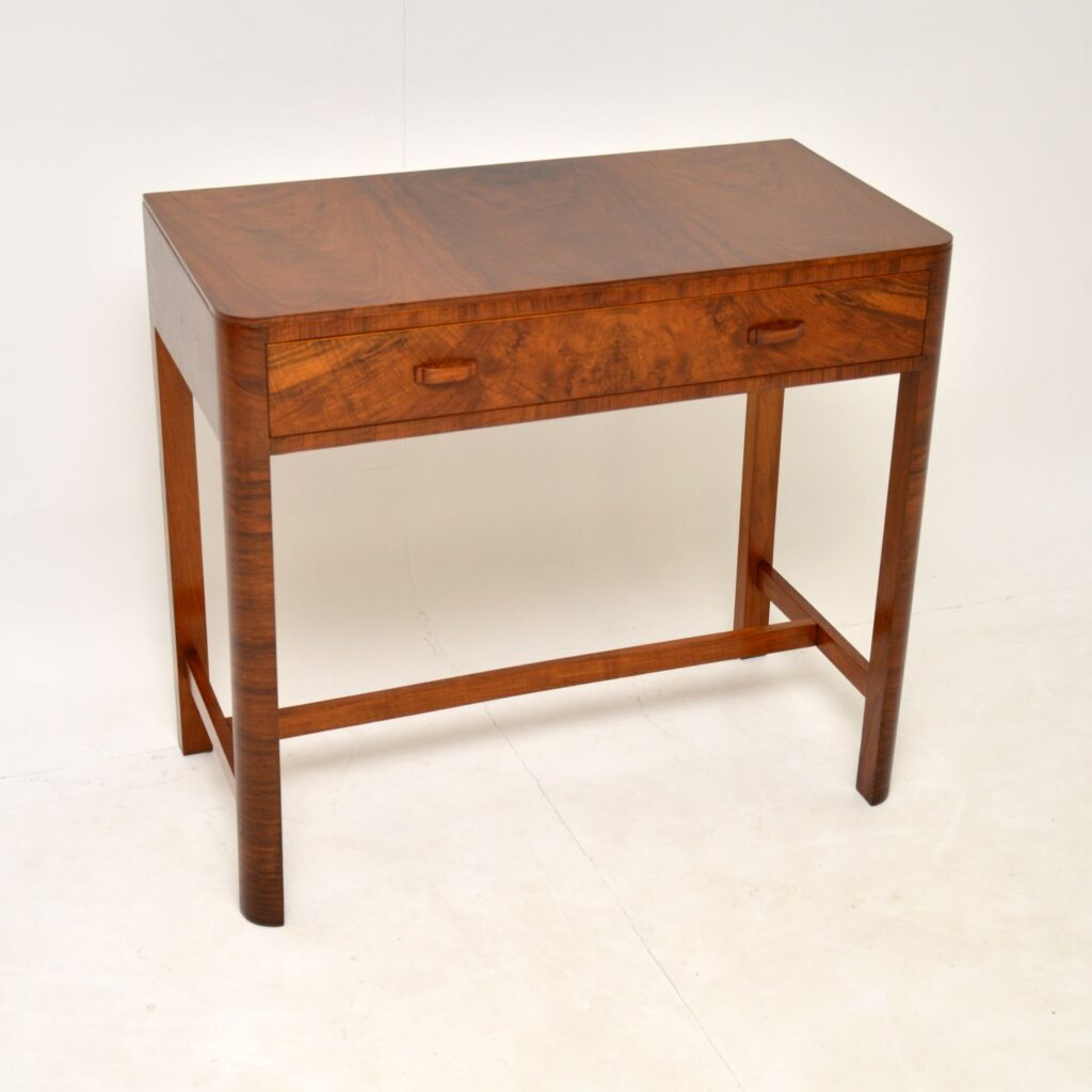 art deco figured walnut side console writing table desk by heals