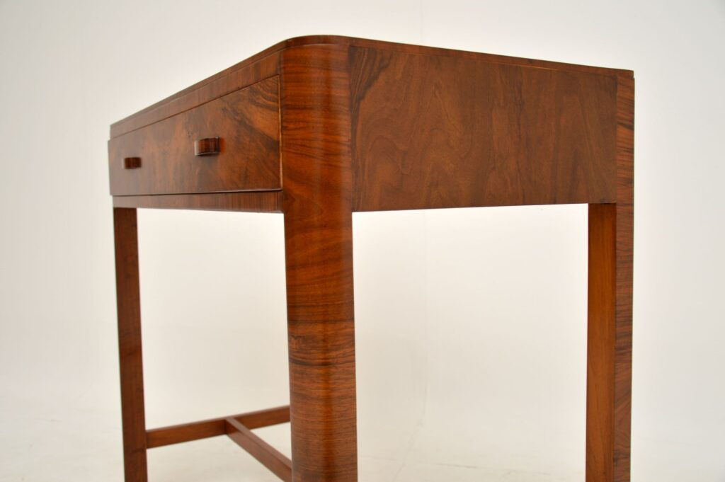 art deco figured walnut side console writing table desk by heals