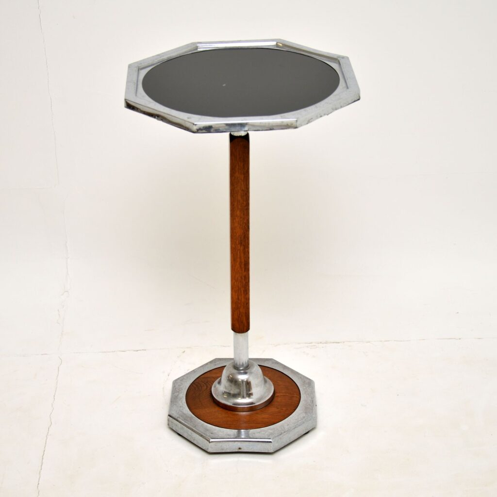 art deco oak chrome occasional side lamp wine side table