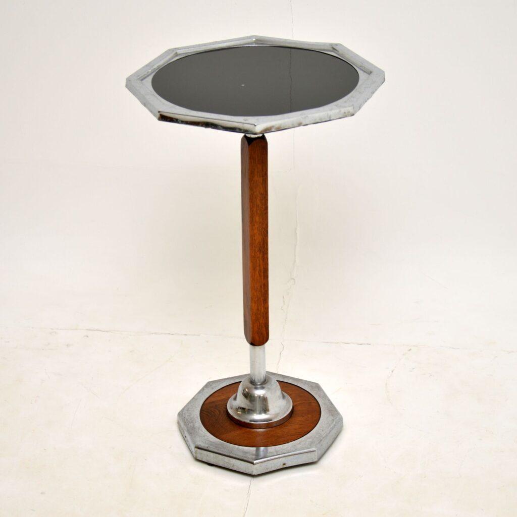art deco oak chrome occasional side lamp wine side table