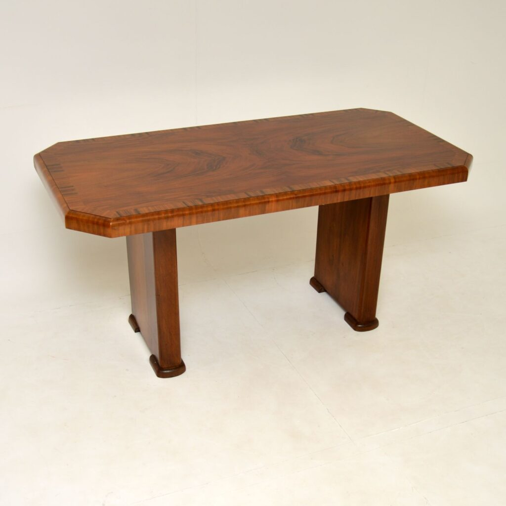 art deco walnut dining table desk