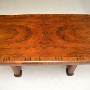 Art Deco Figured Walnut Dining Table / Desk Vintage 1930's