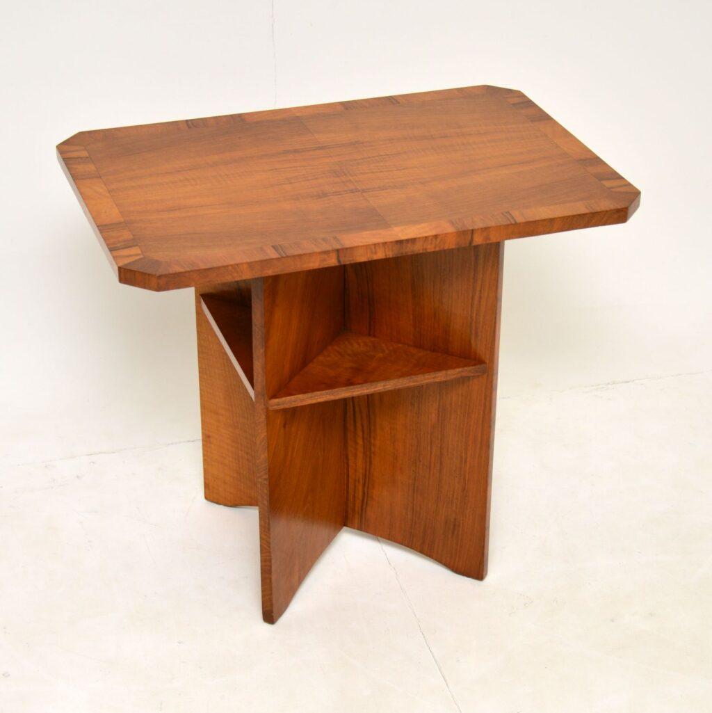 art deco walnut occasional coffee table