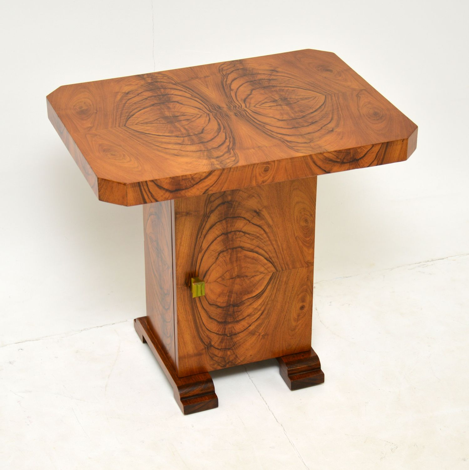 art deco figured walnut coffee side occasional table