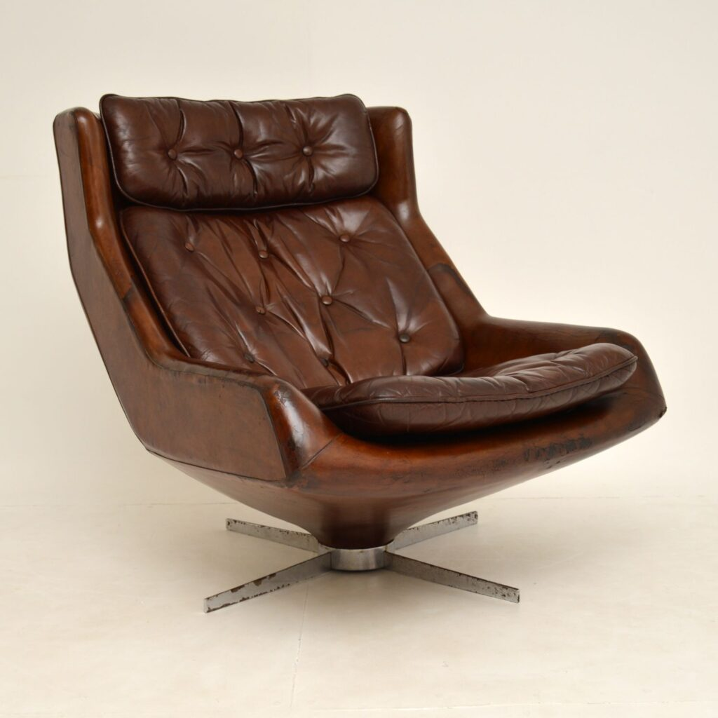 danish retro vintage leather swivel armchair
