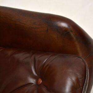danish retro vintage leather swivel armchair
