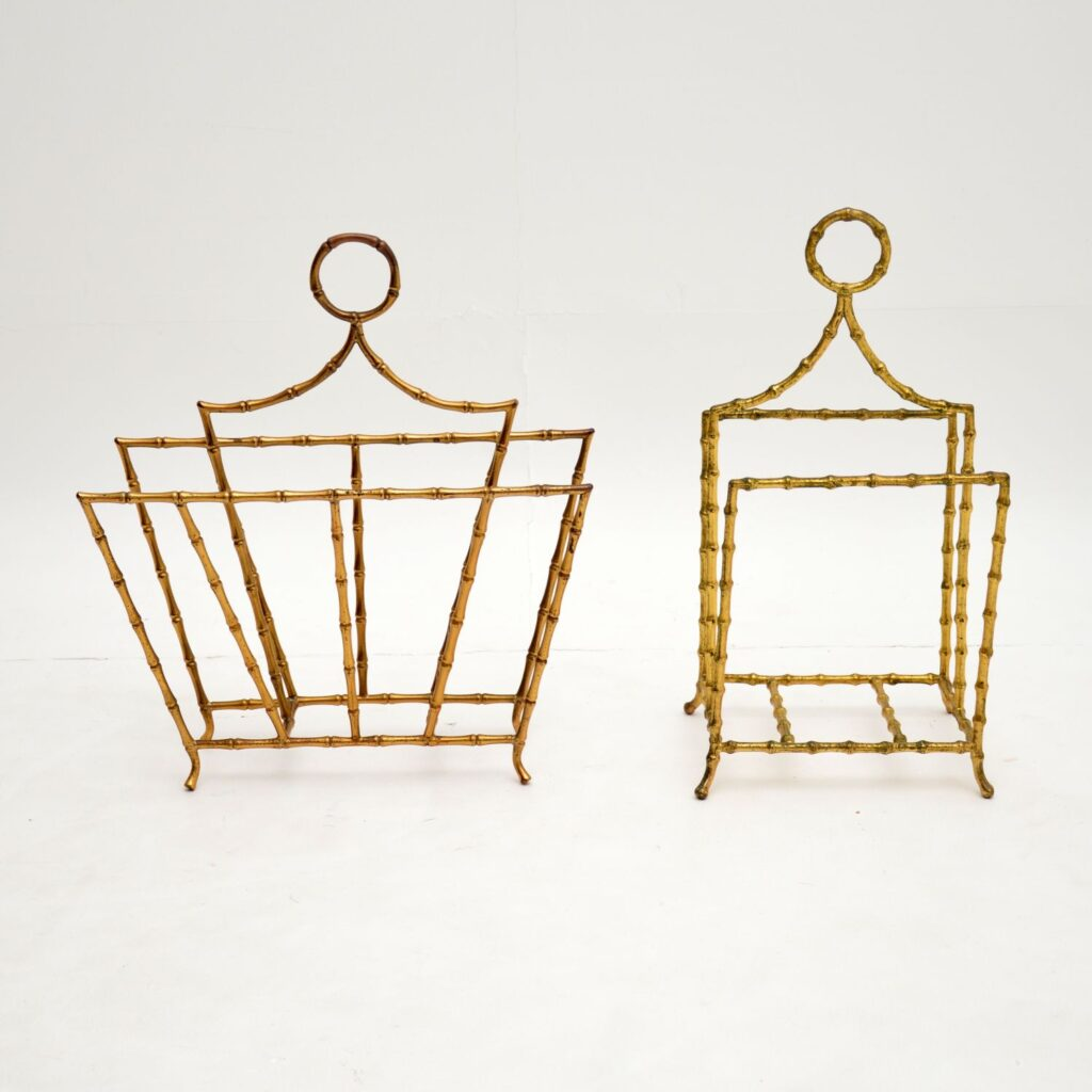 pair of retro vintage french brass bamboo paper magazine racks canterbury