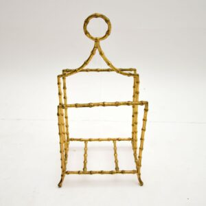 pair of retro vintage french brass bamboo paper magazine racks canterbury