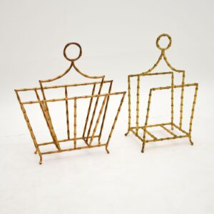 Pair of Vintage Brass Magazine / Paper Racks