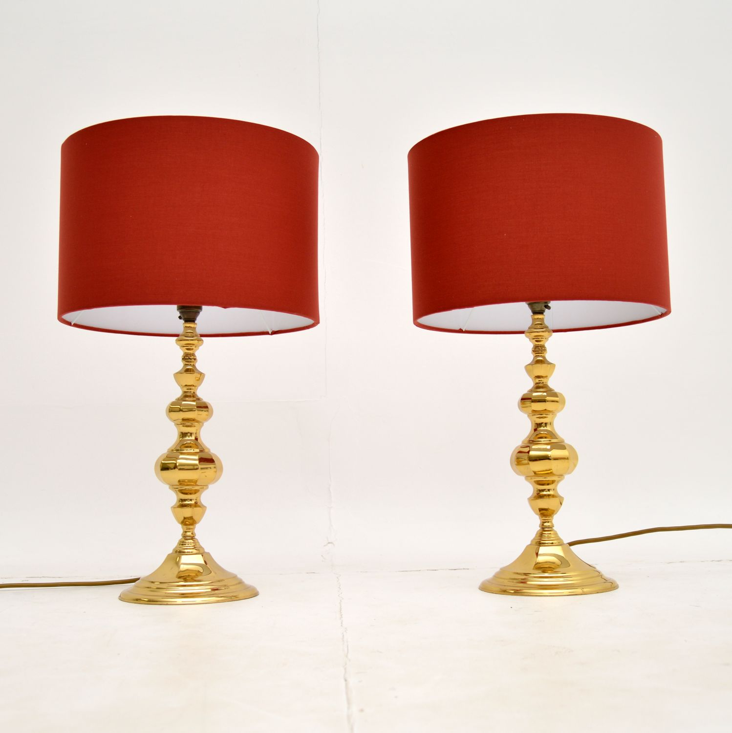 pair of retro vintage brass table lamps