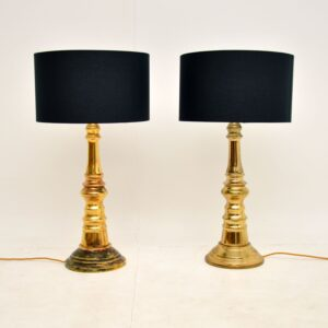 retro vintage brass table lamps 1970s