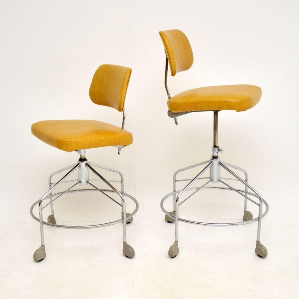 pair of danish retro vintage leather swivel desk architect draughtsman chairs