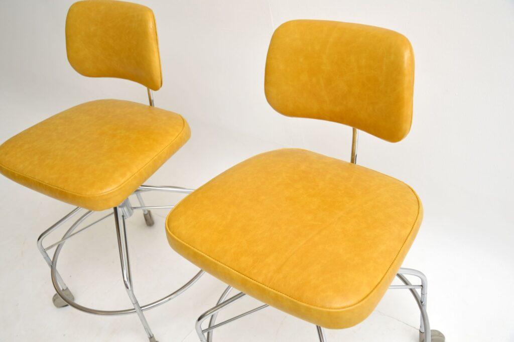 pair of danish retro vintage leather swivel desk architect draughtsman chairs