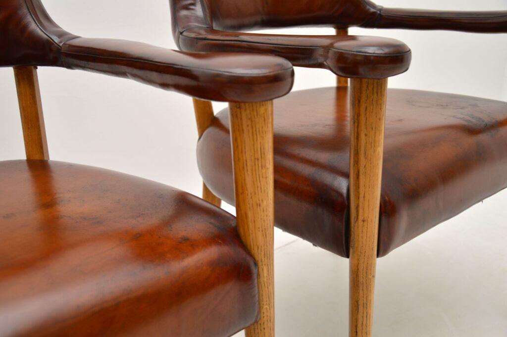 pair of danish swedish leather vintage retro armchairs