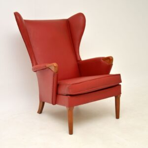pair of retro vintage parker knoll wing back armchairs