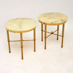 Pair of Vintage Brass & Onyx Side Tables