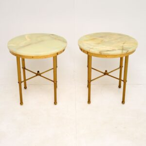 pair of retro vintage brass marble onyx side tables