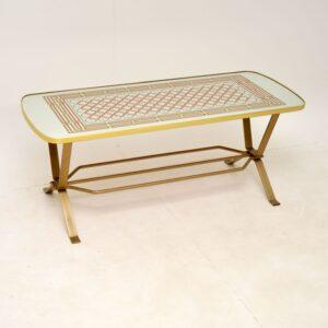 retro vintage brass mirrored coffee table