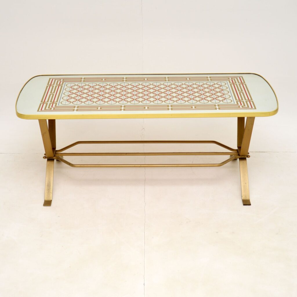 retro vintage brass mirrored coffee table