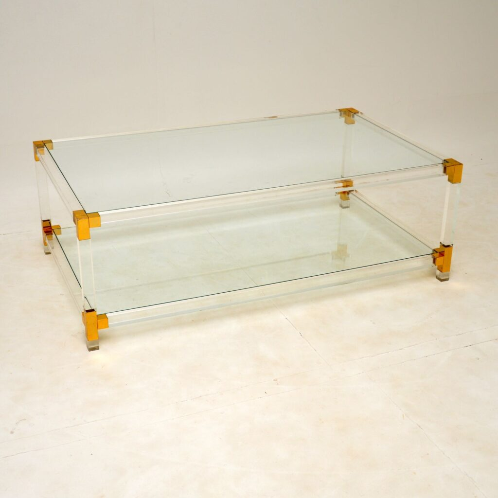 retro vintage italian glass brass acrylic coffee table