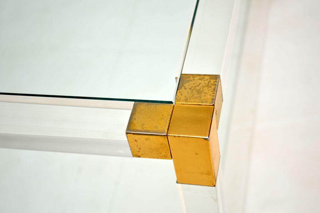 retro vintage italian glass brass acrylic coffee table