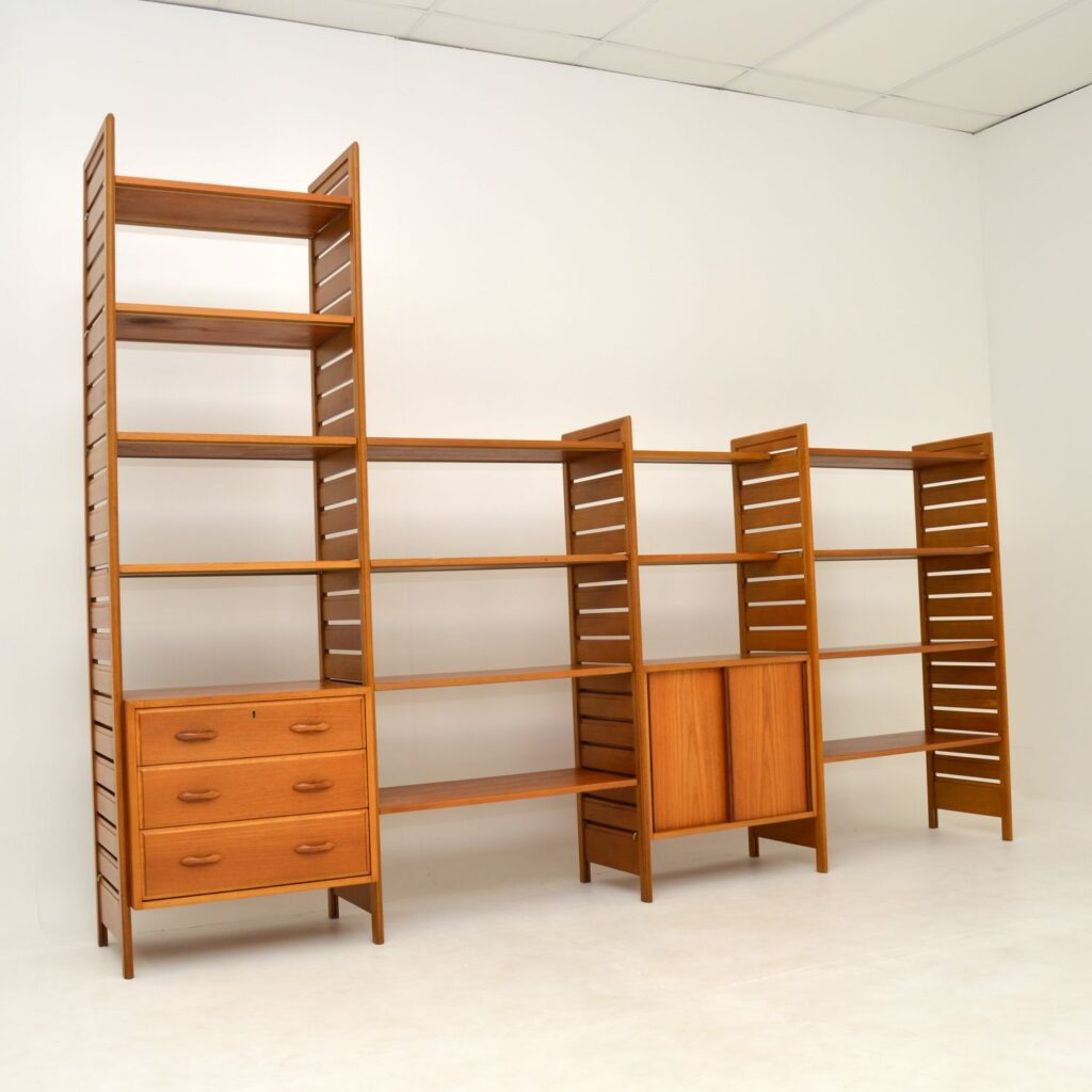 teak retro vintage ladderax shelving bookcase room divider