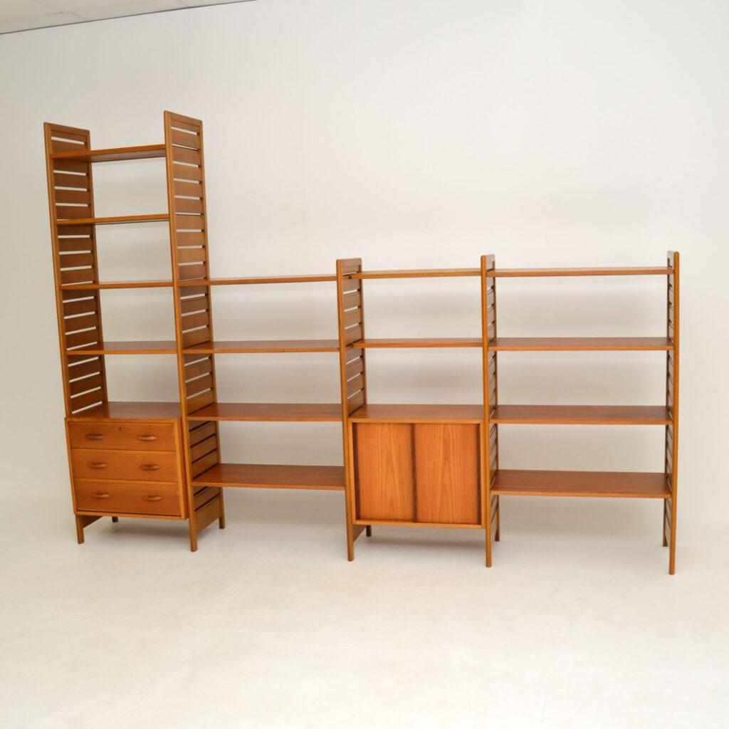 teak retro vintage ladderax shelving bookcase room divider