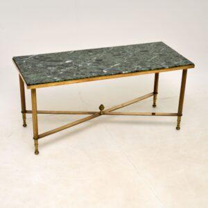 antique vintage retro brass marble vintage coffee table