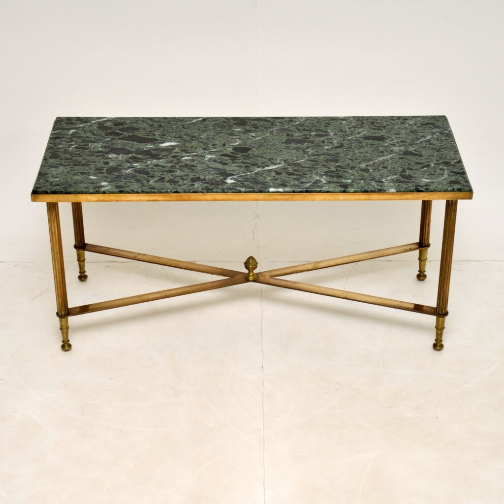 antique vintage retro brass marble vintage coffee table