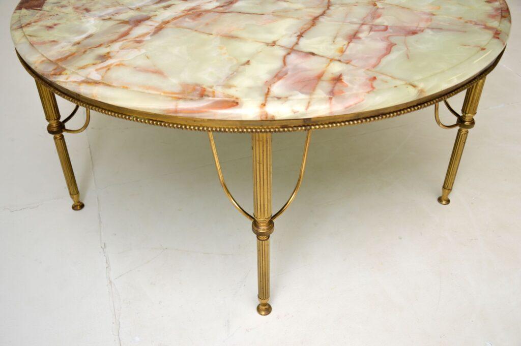 antique retro vintage marble onyx brass coffee table