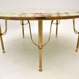 Vintage French Onyx & Brass Coffee Table