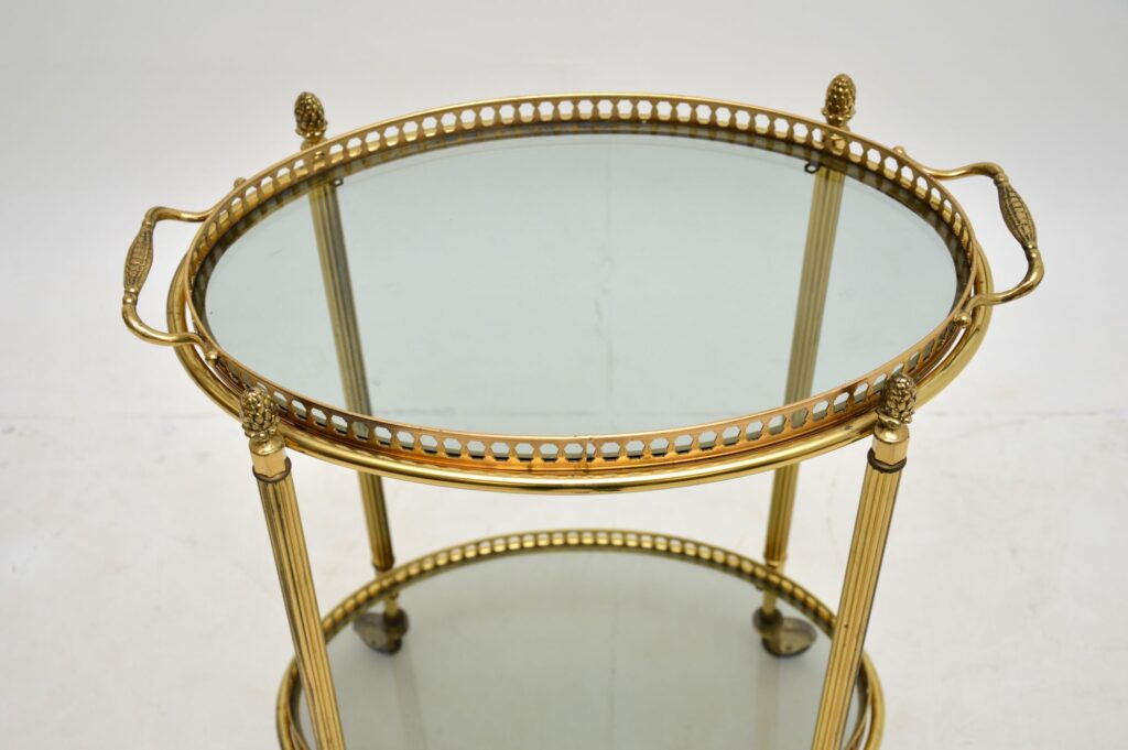 antique retro vintage french brass drinks trolley art deco