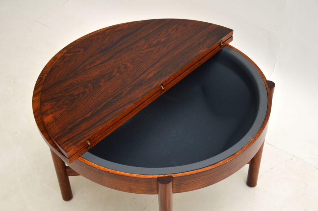 danish rosewood vintage sewing table work box coffee table syklus