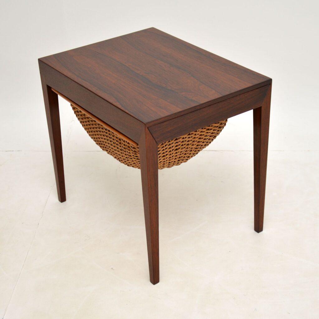 danish rosewood retro vintage sewing table severin hansen haslev
