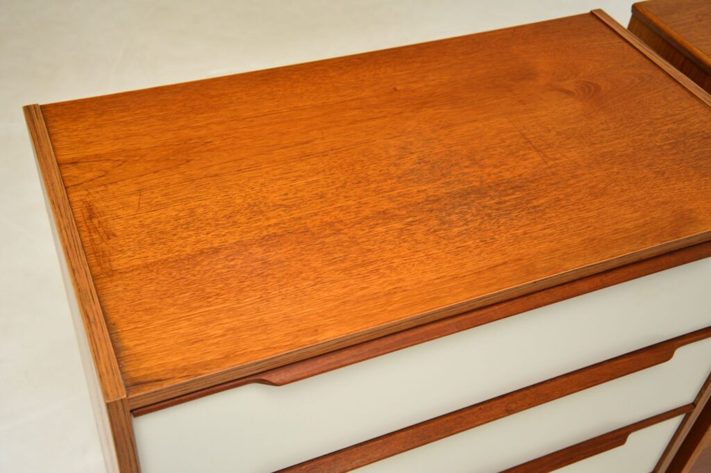 pair of danosh retro vintage teak chest of drawers bedside chests