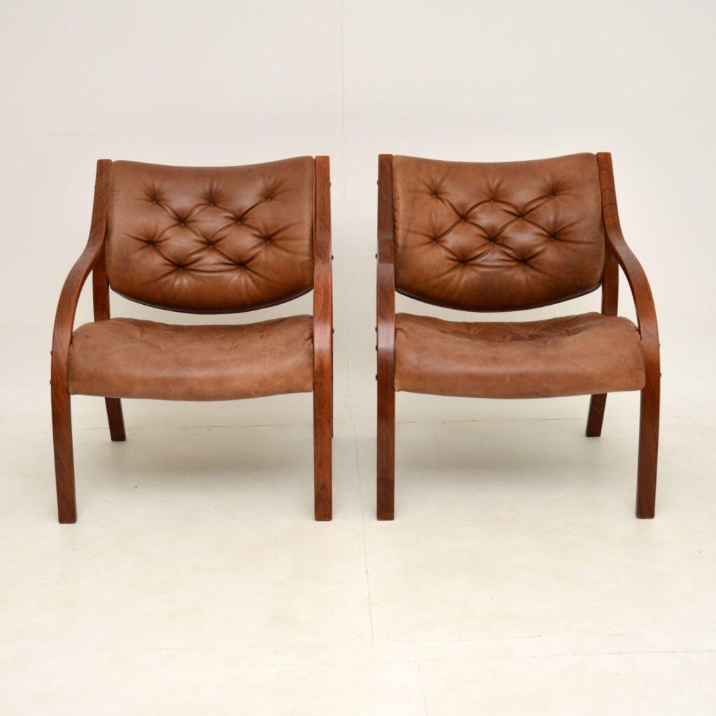 pair of retro vintage danish swedish leather bentwood armchairs