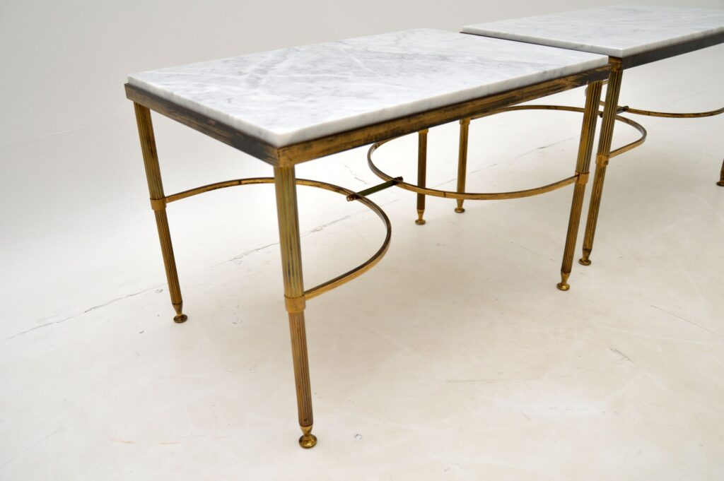 pair of retro vintage brass marble side tables