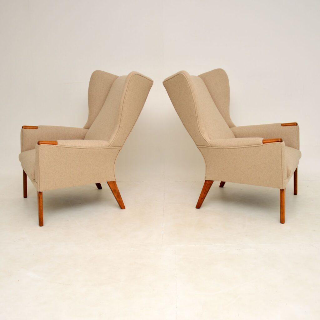 pair of vintage retro wing back wool papa bear armchairs