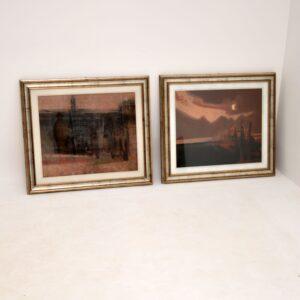 pair retro vintage antique italian oil paintings
