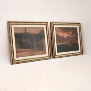 """Pair of Italian Abstract Framed Oil Paintings c.1980 Signed """"Giussani"""""""