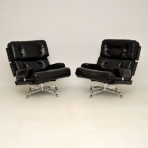 pair of leather howard keith kohinoor armchairs stool vintage retro