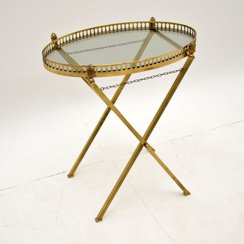 retro vintage antique art deco brass serving side coffee table