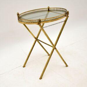 retro vintage antique art deco brass serving side coffee table
