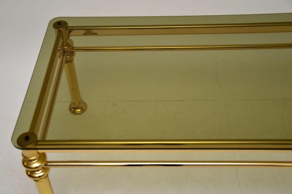 retro vintage brass glass coffee table