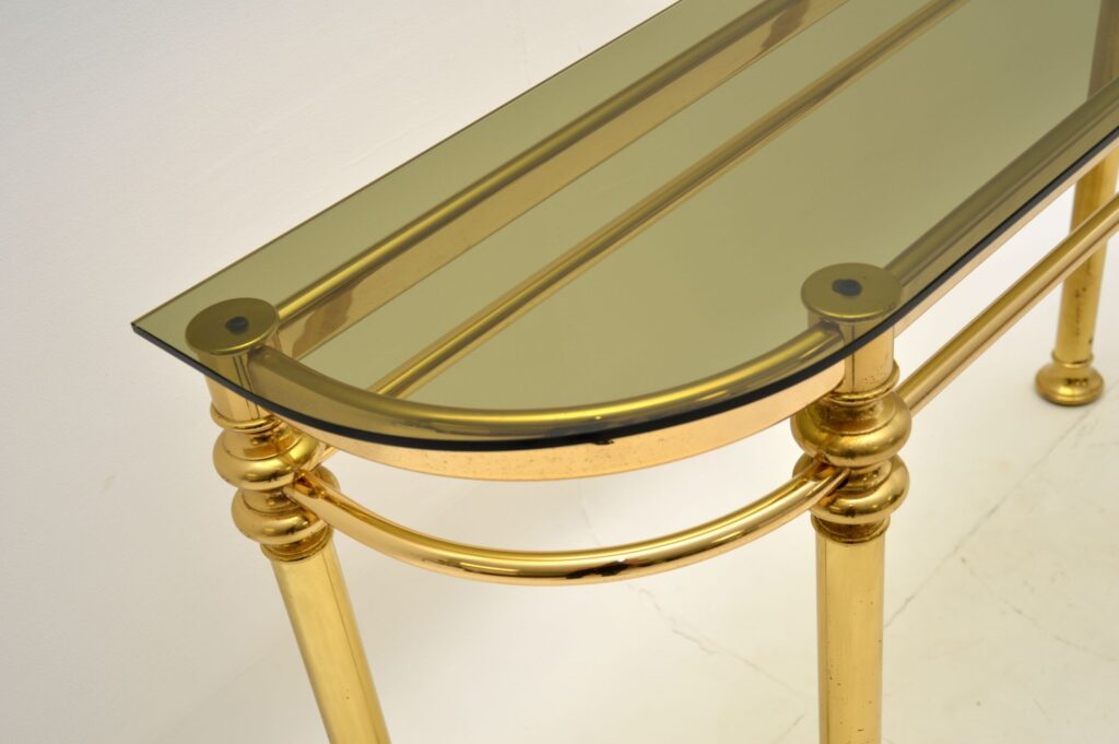 retro vintage brass glass console side hall table