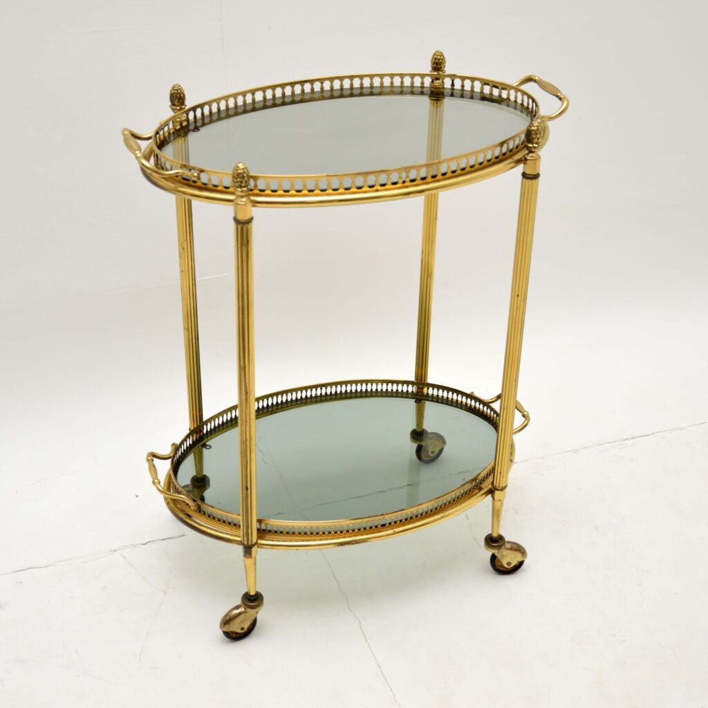 antique retro vintage french art deco brass drinks trolley